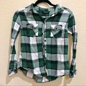 Green and White Flannel Topshop